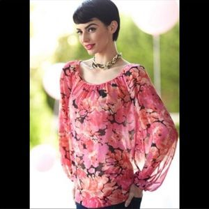 CAbi Pink Floral Pleated Chiffon Sheer Blouse XS